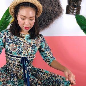 Vtg 60s Abstract Print Ribbon Midi Dress SM